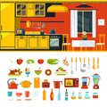 Kitchen interior object constructor template vector icon set Royalty Free Stock Photo