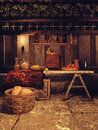 Kitchen in a medieval house Royalty Free Stock Photo