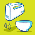 Kitchen mixer blue series vector illustration of a with a bowl Stock Image