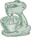 Kitchen Mixer Vintage Etching