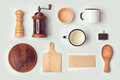 Kitchen mock up template with retro vintage objects view from above flat lay Royalty Free Stock Photos