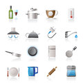 Kitchen objects and accessories icons Stock Images