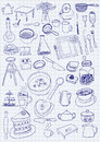 Kitchen objects on paper background Royalty Free Stock Photos