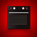 Kitchen oven on red background vector illustration Royalty Free Stock Photography