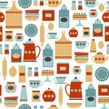 Kitchen pattern seamless with vintage items Royalty Free Stock Image
