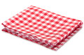 Kitchen red picnic horizontal clothes isolated on white. Royalty Free Stock Photo