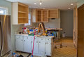Kitchen renovation in progress new cupboards appliances and countertops Royalty Free Stock Images