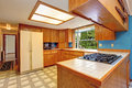 Kitchen room with skylight bright and linoleum Stock Image