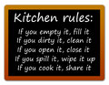 Kitchen rules easy and clear for when working inside the Royalty Free Stock Image