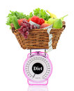 Kitchen scale with diet food Royalty Free Stock Photo