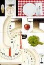 Kitchen Scales, Foods, Watching Your Weight, Dieting Royalty Free Stock Photo
