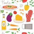 Kitchen seamless pattern cooking pasta Stock Photos