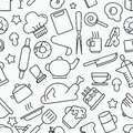 Kitchen seamless pattern. White background with line icons Vecto