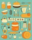 Kitchen set of utensil in retro styled Stock Image