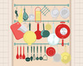 Kitchen Shelves With Cooking Utensils in Retro Style.