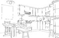 Kitchen sketch Stock Image