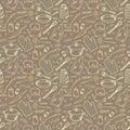 Kitchen sketch beige vector seamless pattern