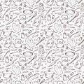 Kitchen sketch monochrome vector seamless pattern