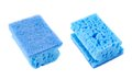 Kitchen sponge front and back view blue side views isolated over white background Stock Photography