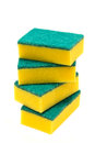 Kitchen sponges for washing dishes on white background Royalty Free Stock Photo