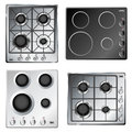 Kitchen stove hob set from top view Royalty Free Stock Photo