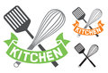 Kitchen symbol crossed spatula and balloon whisk Stock Images