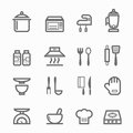 Kitchen symbol line icon set on white background vector illustration Royalty Free Stock Photos
