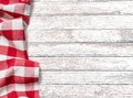 Kitchen table background with red picnic cloth Royalty Free Stock Photo