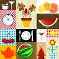 Kitchen table cloth design Stock Photography