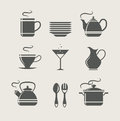 Kitchen tableware set of icons vector illustration Royalty Free Stock Photography