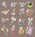 Kitchen tool stickers Stock Photos