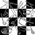 Kitchen Tools Checkerboard Stock Image