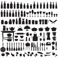 Kitchen tools, cooking icons Royalty Free Stock Photo
