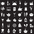 Kitchen tools, food and drinks icons set