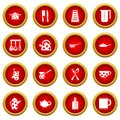 Kitchen tools and utensils icon red circle set