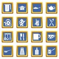 Kitchen tools and utensils icons set blue