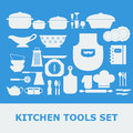 Kitchen Tools White Silhouette Vector icons set Royalty Free Stock Photo