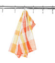 Kitchen towel on hook isolated on white background Royalty Free Stock Images