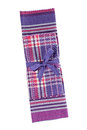 Kitchen towel purple set on white background Royalty Free Stock Photos
