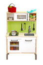 Kitchen toy set isolate over white background Royalty Free Stock Photo