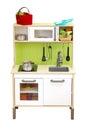 Kitchen toy set isolate over white background Royalty Free Stock Photo