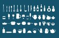 Kitchen utensil icons vector set