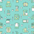 Kitchen utensil, small appliances green seamless pattern with flat line icons. Background with household cooking tools
