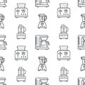 Kitchen utensil, small appliances seamless pattern flat line icons black white. Background household cooking tools -