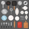 Kitchen utensil vector kitchenware or cookware for cooking food set of pan cutlery and plate illustration of dishware Royalty Free Stock Photo