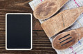Kitchen utensils and a blackboard to write a recipe wooden Royalty Free Stock Photos