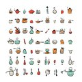 Kitchen utensils characters sketch drawing icons for your design this is file of eps format Royalty Free Stock Photos