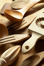 Kitchen utensils close up of wooden Stock Photo
