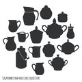 Kitchen utensils collection sugar bowls and milk jugs vector illustration Royalty Free Stock Photo