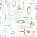 Kitchen utensils color seamless pattern